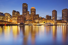 Free Boston, Massachusetts, USA Skyline From Fan Pier At Night Royalty Free Stock Photos - 58838408