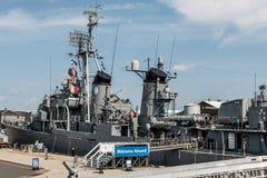 Boston Massachusetts usa 06 09 2017- USS Cassin Fletcher klasy Młodego niszczyciela Krajowy Historyczny punkt zwrotny Zdjęcia Royalty Free