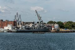 Boston massachusetty USA 06.09.2017- USS Cassin Young Fletcher class destroyer National Historic Landmark. Boston massachusetty USA 06.09.2017 - USS Cassin Young Royalty Free Stock Images