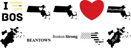 Boston massachussetts vector with american flag royalty free illustration