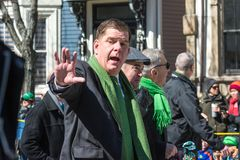 Boston Mayor Marty Walsh St Patrick`s Day Parade. Boston Mayor Marty Walsh walking the route during the St Patrick`s Day Parade, 2018, in South Boston Royalty Free Stock Photos