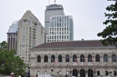 Boston miliampère, o 30 de junho: Construção de biblioteca pública no quadrado de Copley de Boston no estado de Massachusettes de Fotografia de Stock