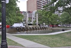 Boston miliampère, o 30 de junho: Copley esquadra a fonte de Boston no estado de Massachusettes de EUA Fotos de Stock Royalty Free