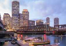 Boston. The mix of modern and historic architecture of Boston in Massachusetts, USA showcasing the Boston Harbor and Financial District Stock Image