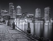 Boston. The mix of modern and historic architecture of Boston in Massachusetts, USA showcasing the Boston Harbor and Financial District Stock Photos