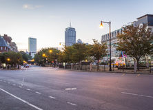 Boston. The mix of modern and historic architecture of Boston in Massachusetts, USA showcasing the Kenmore Square at sunrise Stock Photos