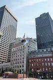 Boston MOR USA 04 09 i stadens centrum byggnader 2017 för panoramautsikt för horisontsommardag Fotografering för Bildbyråer