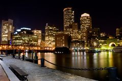 Boston na noite Foto de Stock Royalty Free