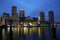 boston natthorisont Royaltyfria Bilder