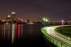 Boston at night. As seen from Cambridge royalty free stock image