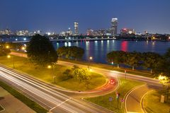 Boston at Night with Charles River Stock Photography
