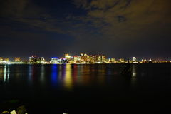 Boston at night. Boston downtown and harbor at night Stock Images