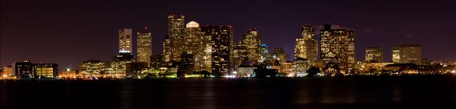 Boston at Night (Panoramic) Stock Images