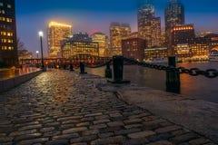 Boston night in the rain Royalty Free Stock Image