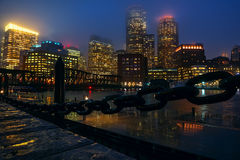 Boston night in the rain Royalty Free Stock Images
