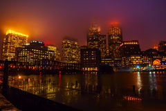 Boston night in the rain Stock Photo