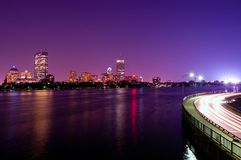 Boston Night Skyline. A night view of the Boston skyline from Cambridge with Fenway Park in the background stock image