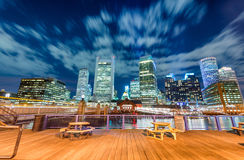 Boston night skyline from city pier royalty free stock photos