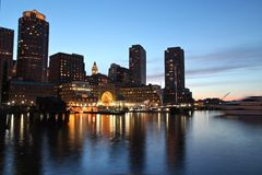 Boston night skyline. Evening Waterfront view of the city royalty free stock photography