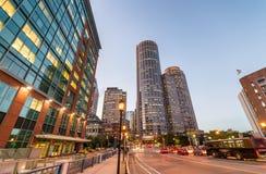 Boston night skyline. Lights of city buildings royalty free stock photos