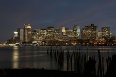 Boston nocy linia horyzontu Obrazy Stock