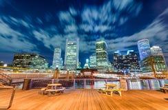 Boston nocy linia horyzontu od miasta mola zdjęcia royalty free