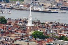 Boston North End, Boston, USA. Aerial view of Boston North End, Old North Church and Italian Community, Boston, USA stock photography