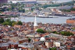 Boston North End, Boston, USA. Aerial view of Boston North End, Old North Church and Italian Community, Boston, USA stock images