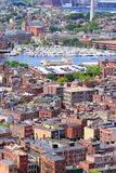 Boston North End. Boston, Massachusetts in the United States. City aerial view with North End royalty free stock images