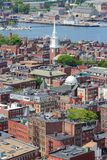 Boston North End. Boston, Massachusetts in the United States. City skyline aerial view with North End district royalty free stock photos