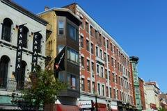 Boston North End, Massachusetts, USA. Boston historic Hanover Street in North End, Boston, Massachusetts, USA. North End is the first neighborhood of Boston stock photography