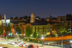 Boston North End at night, Massachusetts, USA. Boston historic building including Traffic Tunnel Administration Building in North End at night, Boston stock images