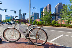 Boston North End Park and slkyline Massachusetts. Boston North End Park and slkyline in Massachusetts USA stock image