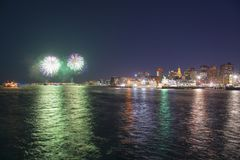 Boston 2018 nytt år Eve Fireworks, USA Royaltyfri Foto