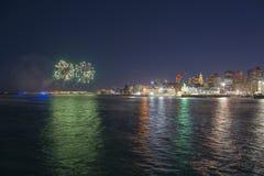 Boston 2018 nytt år Eve Fireworks, USA Royaltyfria Foton
