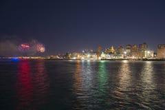 Boston 2018 nytt år Eve Fireworks, USA Arkivbilder