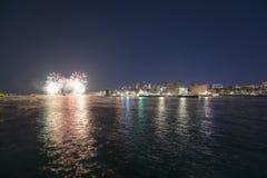 Boston 2018 nytt år Eve Fireworks, USA Arkivfoto