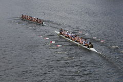BOSTON - OCTOBER 19, 2014: Athletic Club of New York  and Georgetown University races in the Head of Charles Regatta Men's Champio Stock Photography
