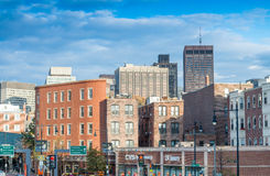 BOSTON - OCTOBER 17, 2015: City streets at sunset. Boston welcom Royalty Free Stock Images