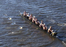 BOSTON - OCTOBER 23, 2016: Trinity College races in the Head of Charles Regatta Women's Collegiate Eights royalty free stock photography