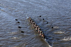 BOSTON - OCTOBER 23, 2016: West Point Academy races in the Head of Charles Regatta Women's Collegiate Eights Royalty Free Stock Photo