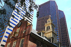 Boston - Old State House. Boston  is the capital and largest city of the Commonwealth of Massachusetts in the United States. The Old State House is a historic Stock Photos