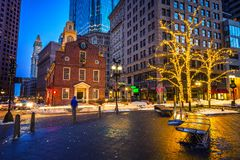Boston old state house at night royalty free stock images