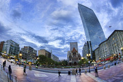 Boston. Panoramic photo of Boston in Massachusetts, USA. Copley Square in Boston downtown at sunset Stock Image