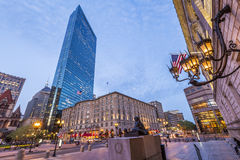 Boston. Panoramic view of the architecture of Boston in Massachusetts, USA at sunset Stock Images