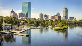 Boston. Panoramic view of Boston in Massachusetts, USA showcasing the Financial District with its mix of modern and historic buildings and the famous Charles stock photography