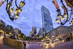 Boston. Panoramic view of Boston in Massachusetts, USA showing the Copley Square and its landmarks at sunset Stock Photography