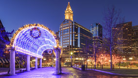 Boston. Panoramic view of Boston in Massachusetts, USA at sunrise during the Christmas times Stock Images