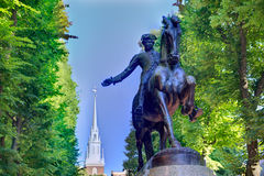 Boston Paul Revere Mall statue Massachusetts. Boston Paul Revere Mall statue and Old North church background Massachusetts Royalty Free Stock Photo