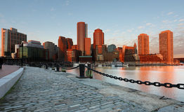 Boston Pieniężny okręg przy wschodem słońca Zdjęcia Royalty Free